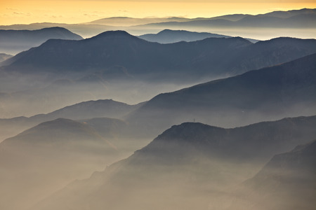 viewpoints: Mountain landscape in sunset light Stock Photo