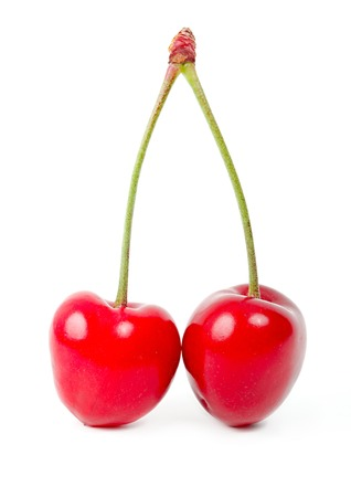 Ripe cherry fruits in pair photo