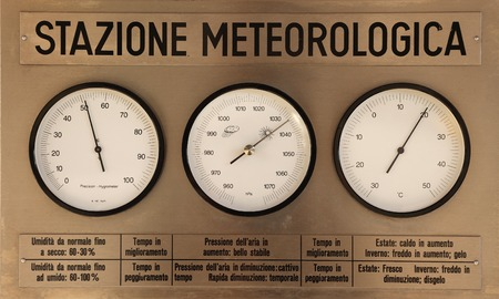 hygrometer: Meteorological instruments of a weather station Stock Photo