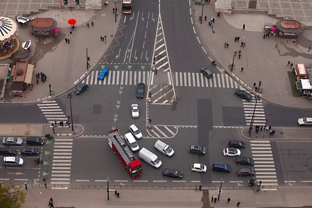 Intersection of urban roads with no traffic photo