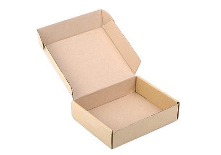 ebay: Open cardboard box isolated on white