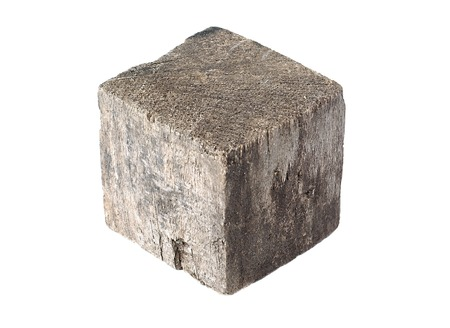 cubic: Wooden cube block on white background Stock Photo