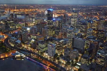 aerial: Melbourne, Australia from birds eye view Stock Photo