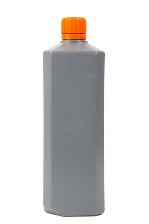 Gray plastic can isolated on white background photo