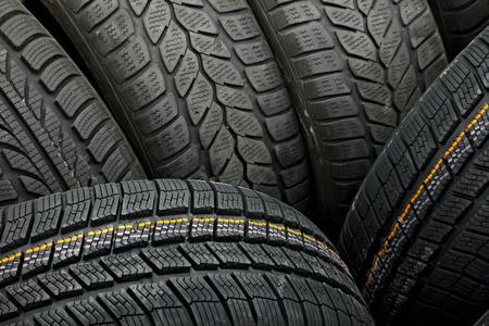 os: Tyre texture closeup os various patterns Stock Photo