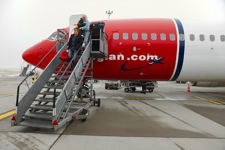 liszt: BUDAPEST, HUNGARY - JANUARY 25: Airliner of Norwegian air shuttle at Budapest Liszt Ferenc Airport, January 25th 2014. Norwegian is the third largest low-cost carrier in Europe Editorial