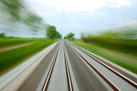 railway points: Railway tracks with high speed motion blur
