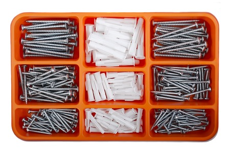 dowel: A case of screws and wallplugs Stock Photo