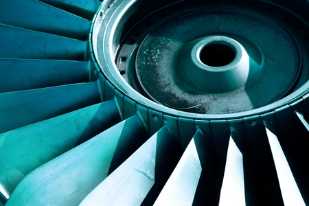 decadence: Detail of an old airplane jet engine Stock Photo