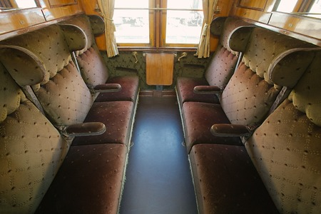 Interior of a passenger with vintage seats photo
