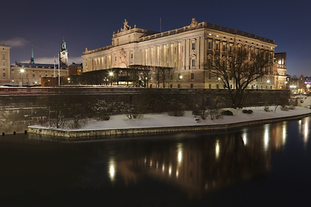 The Swedish Parliament by night in Stockholm photo