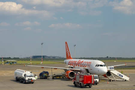 liszt: BUDAPEST, HUNGARY - MAY 5: EasyJet A319  boarding at Budapest Liszt Ferenc Airport, May 5th 2012. Easyjet is the second largest low-cost airline of Europe.
