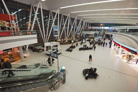 liszt: BUDAPEST, HUNGARY - JAN 24: Interior of the the terminal building at Budapest Liszt Ferenc Airport on Janary 24th, 2012. The new building called Skycourt was finished in March 2011. Editorial