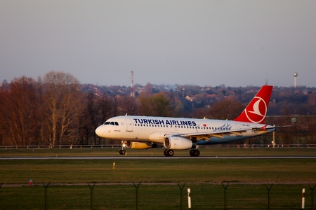 liszt: BUDAPEST, HUNGARY - MAY 5: Turkish Airlines airliner landing at Budapest Liszt Ferenc Airport, May 5th 2014. Turkish Airlines is the fourth-largest carrier in the world by number of destinations. Editorial
