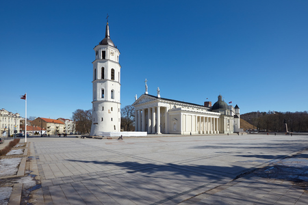 archtecture: Vilnius cathedral in late sunlight Stock Photo