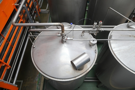 microbrewery: Big containers in a brewery