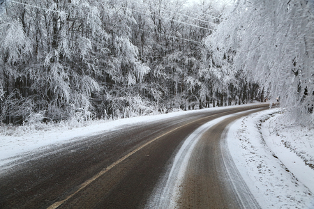 Mountain road in winter photo