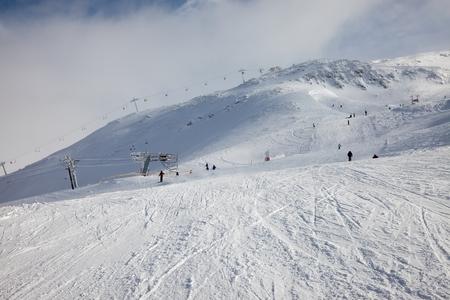 slope: Ski slope in cold weather
