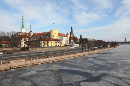 archtecture: View of Riga with the frozen Daugava