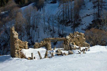 Ruined building in the French Alps Stock Photo