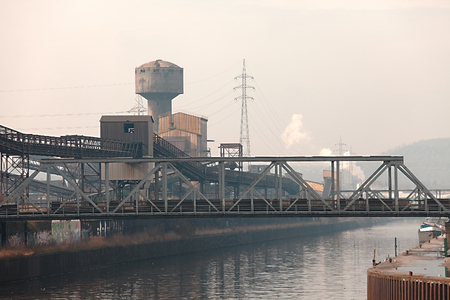 industrial district: Old, dirty industrial district with smog
