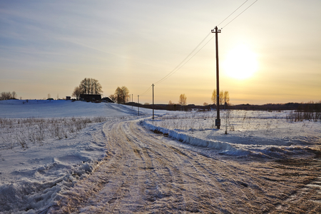 deep freeze: Winter Landscape in rural area