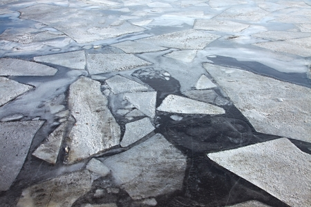 frozen river: Frozen river in cold winter