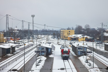 railroad station: Railroad station tracks in winter
