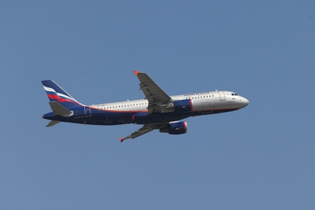 jetplane: BUDAPEST, HUNGARY - APRIL 7: Aeroflot A320 taking off at Budapest Liszt Ferenc Airport, April 7th 2014. Aeroflot is Russias flag carrier and largest airline. Editorial