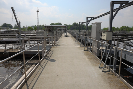 wastewater: Wastewater treatment plant aerating basin