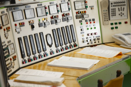 electricity meter: Control panel of a nuclear laboratory Stock Photo