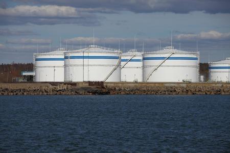 crude oil: Big oil silos in a dock