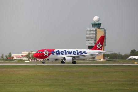 liszt: BUDAPEST, HUNGARY - MAY 5: Edelweiss A320 landing at Budapest Liszt Ferenc Airport, May 5th 2013. Edelweiss is Swiss airline. Editorial