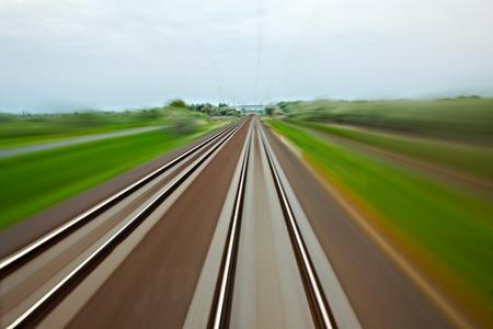 Railway tracks with high speed motion blur photo