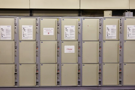 array: Array of safety lockers for luggage Stock Photo