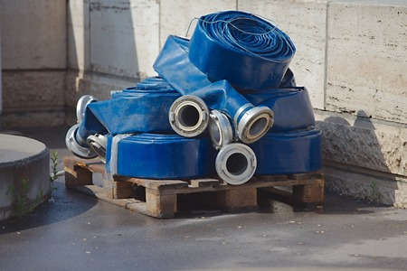unused: Water hoses unused extension parts Stock Photo