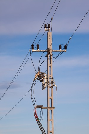 lamp on the pole: Many cables of electric lines Stock Photo