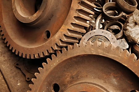 machinery: Old rusty gears of a steel machinery Stock Photo