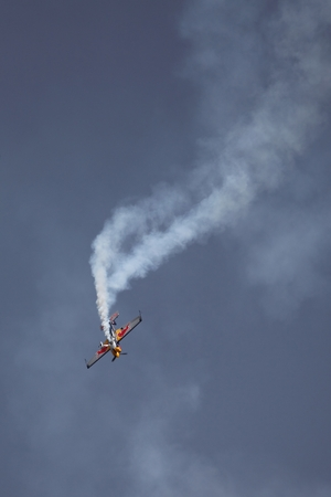 aerobatics: BUDAPEST, HUNGARY - MAY 1: Aerobatics as part of the May 1 celebration of 2014 performed by Peter Besenyei Editorial
