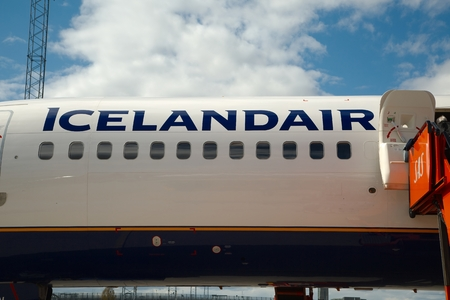fuselage: OSLO, NORWAY - MAY 3, 2015: Icelandair logo on the fuselage of one of the airlines Being 757 aircraft