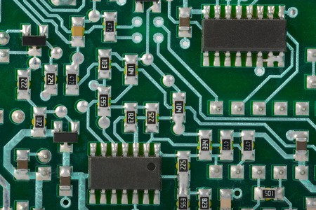 Circuit board with electronic components photo