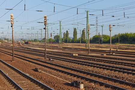 railway track: Railroad tracks in the fog
