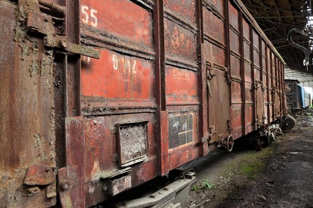 decaying: Abandoned train carriage in a decaying depo Stock Photo