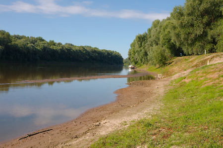 riverside landscape: Riverside landscape in summer sunny weather Stock Photo