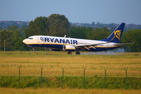 liszt: BUDAPEST, HUNGARY - MAY 27: Airliner of Ryanair landing at Budapest Liszt Ferenc Airport, May 27th 2015. Ryanair is the largest low-cost carrier in Europe Editorial