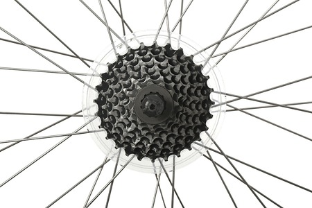 Bicycle wheel isolated with transmission gears photo