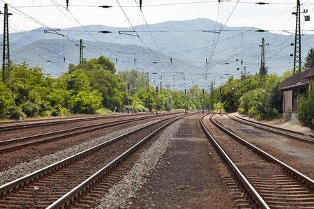 mainline: Railroad tracks in the fog