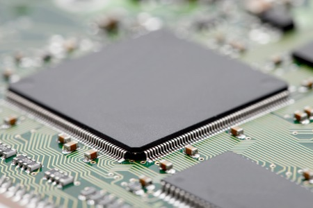 components: Circuit board with electronic components Stock Photo
