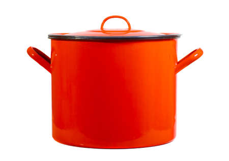 cooking pot: Red cooking pot isolated on white background Stock Photo