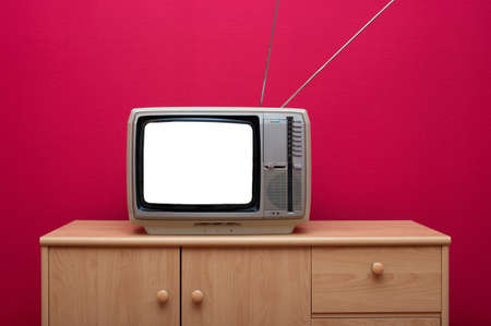 old fashioned tv: Vintage TV set with blank white screen